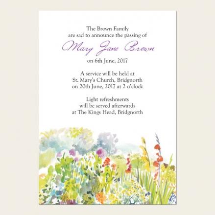 Funeral Announcement Cards - Garden Flowers