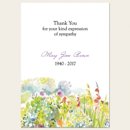 Funeral Thank You Cards - Garden Flowers