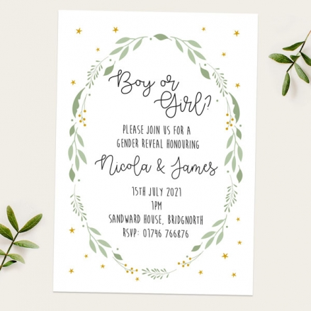 Gender-Reveal-Party-Invitations-Foliage-Wreath
