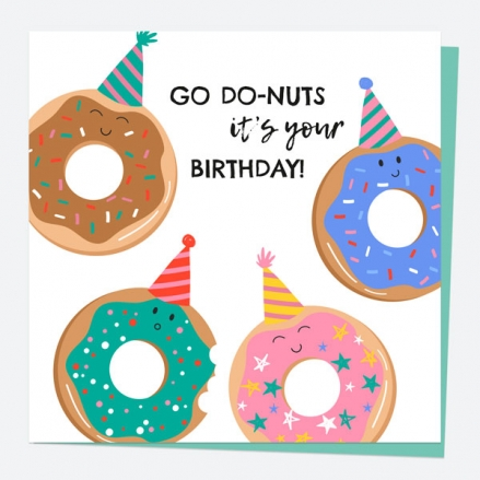 General Birthday Card - Doughnuts - Go Do-nuts It's Your Birthday