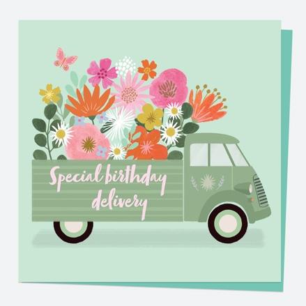 General Birthday Card - Beautiful Blooms - Van - Birthday Delivery