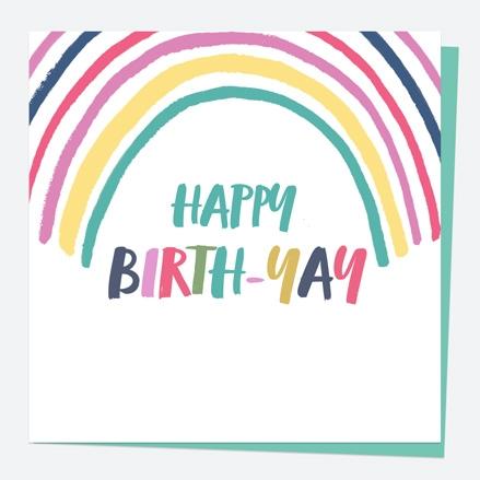 General Birthday Card - Bright Pastels - Rainbow - Happy Birth-yay