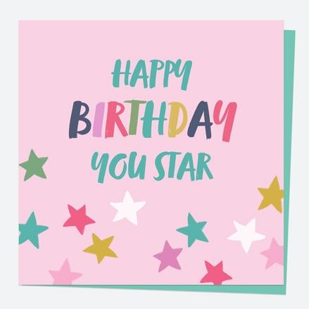 General Birthday Card - Bright Pastels - Stars - Happy Birthday You Star
