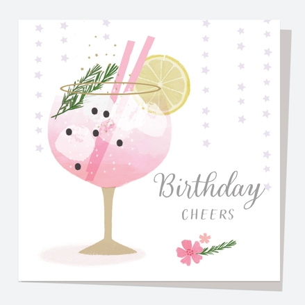 General Birthday Card - Drinks - Pink Gin