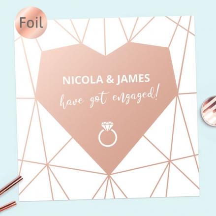 Foil Engagement Party Invitations - Geometric Heart
