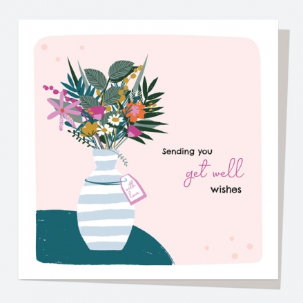 Get Well Soon Card - Pretty Wildflowers - Vase - Get Well Wishes