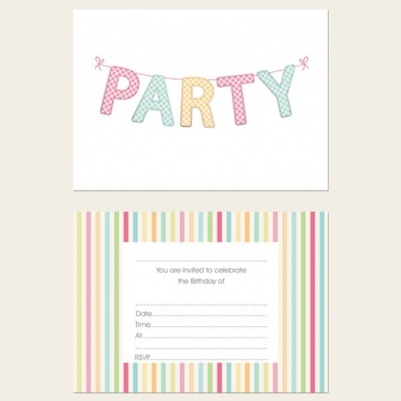 Ready to Write Kids Birthday Invitations - Gingham Party Bunting - Pack of 10