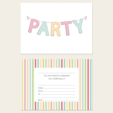 Ready to Write 1st Birthday Invitations - Gingham Party Bunting