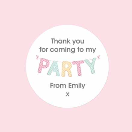 Gingham Party Bunting - Sweet Cone Stickers - Pack of 35