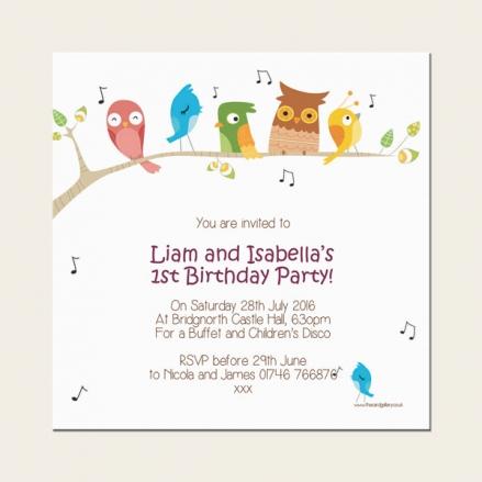 1st Birthday Invitations - Boys and Girls - Singing Birds