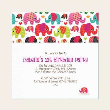 1st Birthday Invitations - Girls Elephant Pattern