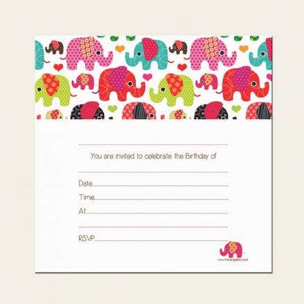 Ready to Write Kids Birthday Invitations - Girls Elephant Pattern - Pack of 10