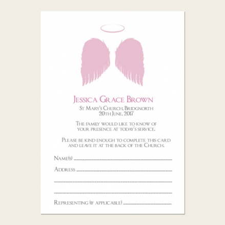 Funeral Attendance Cards - Girls Halo & Angel Wings
