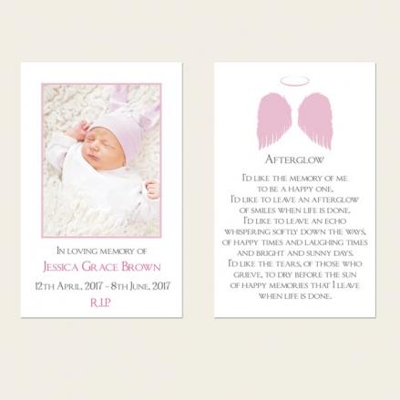 Funeral Memorial Cards - Girls Halo & Angel Wings