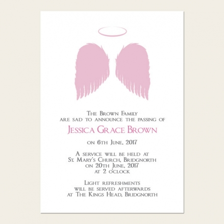 Funeral Announcement Cards - Girls Halo & Angel Wings
