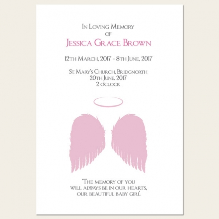 Funeral Order of Service - Girls Halo & Angel Wings