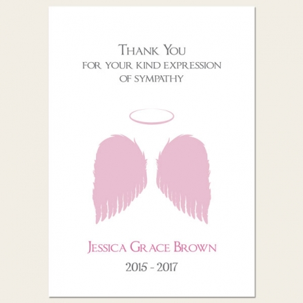 Funeral Thank You Cards - Girls Halo & Angel Wings