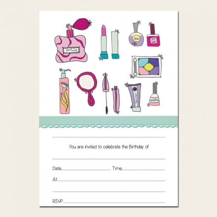 Ready to Write Kids Birthday Invitations - Girls Pamper Party - Pack of 10