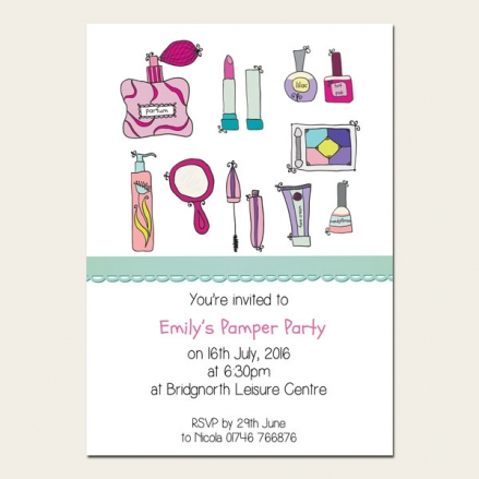 Personalised Kids Birthday Invitations - Girls Pamper Party - Pack of 10