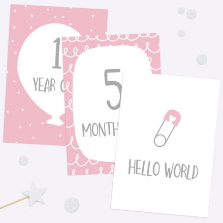 Baby Milestone Cards Ages - Pack of 17 - Girls Pink & Grey