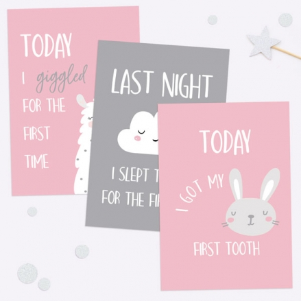 Baby Milestone Cards Phrases - Pack of 12 - Girls Pink & Grey
