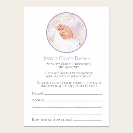 Funeral Attendance Cards - Girls Traditional Photo