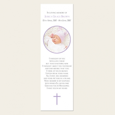 Funeral Bookmark - Girls Traditional Photo