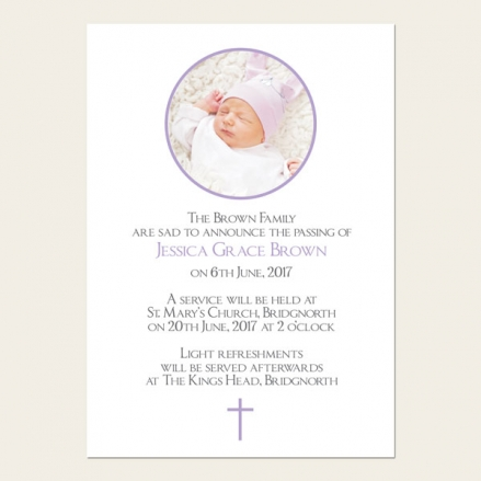 Funeral Announcement Cards - Girls Traditional Photo