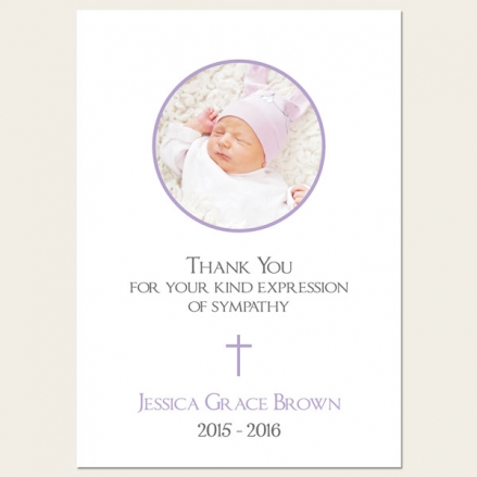 Funeral Thank You Cards - Girls Traditional Photo