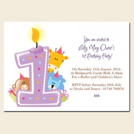 1st Birthday Invitations - Girls Animal Candle