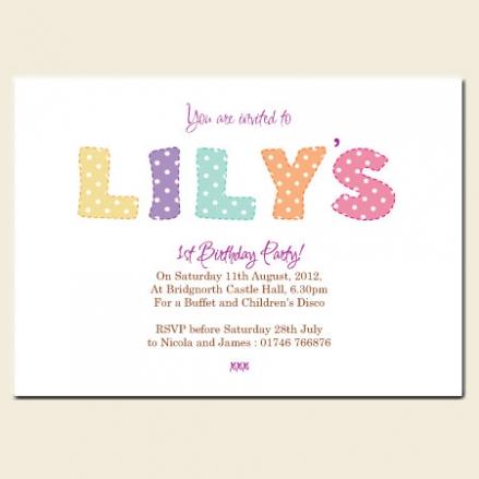 1st Birthday Invitations - Girls Polka Dot Name