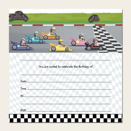 Ready to Write Kids Birthday Invitations - Go Karting - Pack of 10
