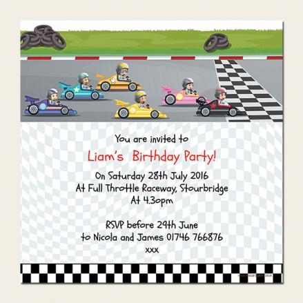 Personalised Kids Birthday Invitations - Go Karting - Pack of 10