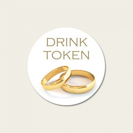 Gold Rings - Drink Tokens - Pack of 30