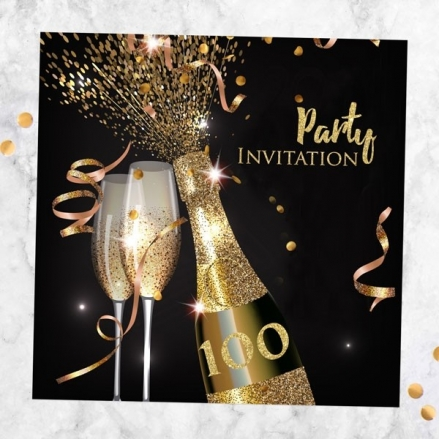 100th Party Invitations - Gold Sparkle Champagne