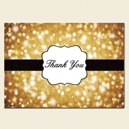 Thank You Cards - Gold Glitter Pattern