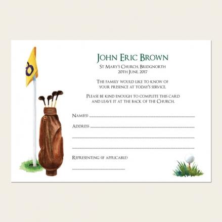 Funeral Attendance Cards - Golf