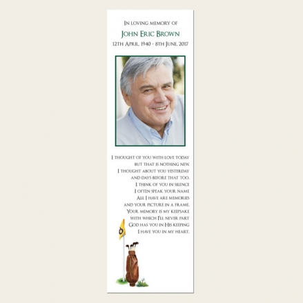 Funeral Bookmark - Golf