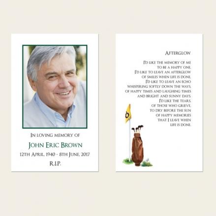 Funeral Memorial Cards - Golf