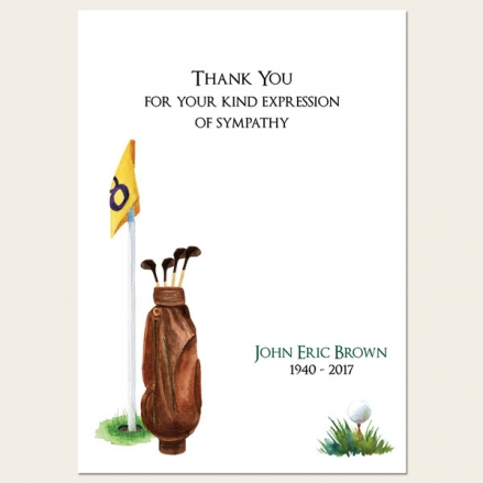Funeral Thank You Cards - Golf
