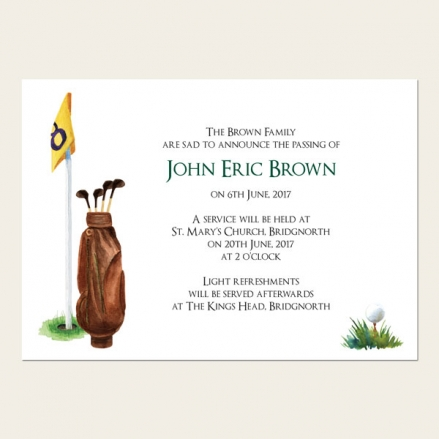 Funeral Announcement Cards - Golf