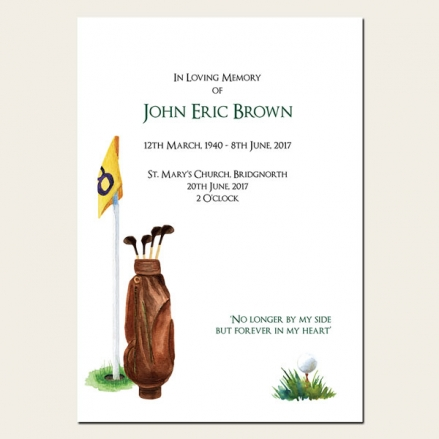 Funeral Order of Service - Golf