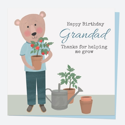 Grandad Birthday Card - Dotty Bear Gardening - Grandad