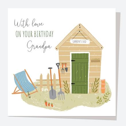 Grandad Birthday Card - Garden Shed - Grandpa