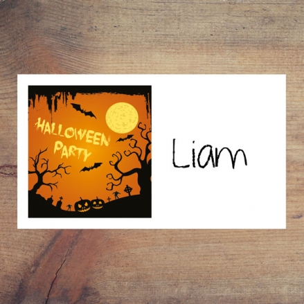 Graveyard Silhouette - Halloween Party Sticker - Pack of 10