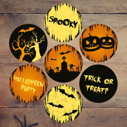 Graveyard Silhouette - Halloween Stickers - Pack of 70