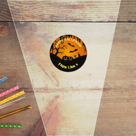 Graveyard Silhouette - Halloween Sweet Cone Bag & Sticker - Pack of 35