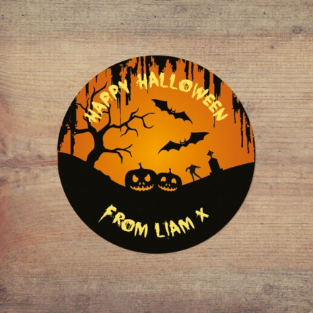 Graveyard Silhouette - Halloween Sweet Cone Stickers - Pack of 35