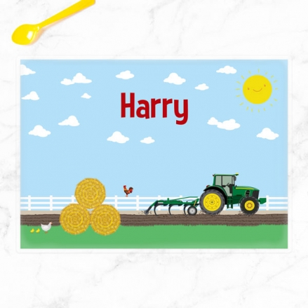 Personalised Kids Placemat - Green Farm Tractor