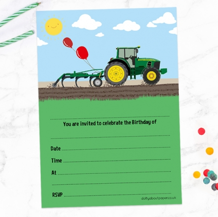 Ready To Write Kids Birthday Invitations - Green Farm Tractor - Pack of 10